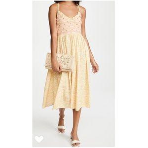 NWT. LSF Chateau Rose Yellow Canyon Dress. S (Pet)